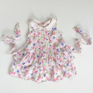 Vintage Sweet Potatoes Floral Ruffle Dress 2T